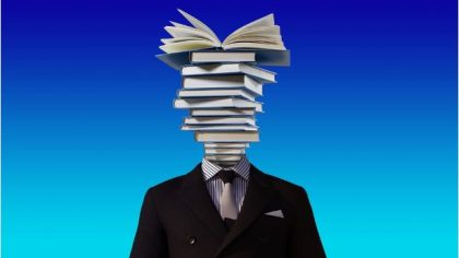 books in place of leader's head symbolizing leadership literacy